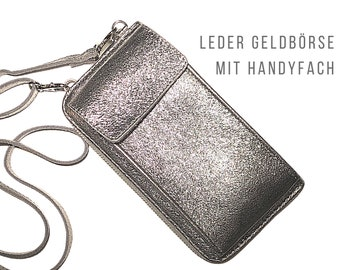 Purse | Wallet Bag | Genuine Leather | Shoulder bag | Phone Case | narrow strap | Mobile phone compartment | Purse | silver or grey