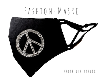 Black Glitter Mask | Peace Sign | Peace Symbol | Fabric Mask Rhinestone | Mouth covering | Face Mask | Cotton Mask | Peace symbol