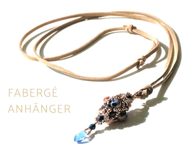 Beaded Woven Fabergé Pendant with Jade on Leather Strap | Long Chain |  cone-shaped pendant | Drops | blue | beige | Egg
