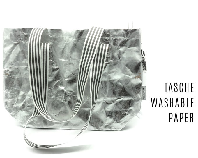 Silver Bag from Washable Paper | Shopper | Large SnapPap Bag | striped straps | Tote Bag | Shopping bag