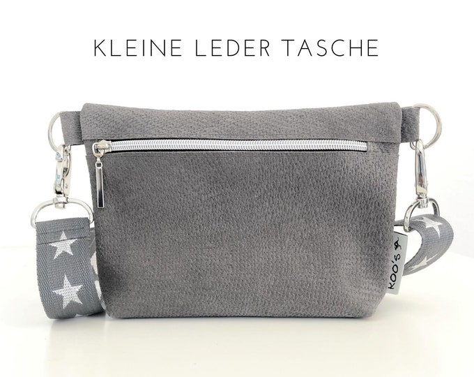 Small grey suede handbag | Structure | Stars | Shoulder bag | Crossbody Bag | wide grey strap with white stars
