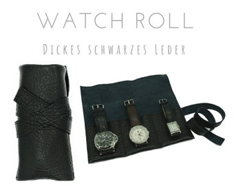 Black 3-series Watch Roll in vintage calf leather | Gift Men | Watch case | Travel Wristwatches Case | Watch roll | Leather roll