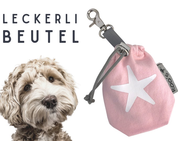 Pink Leckerli Pouch | Star | Lining bag | for dogs | with carabiner | washable | lined | Animal feed