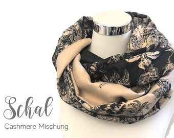 Large cashmere scarf | Floral Pattern | beige black | woven cloth | 180 x 65 cm | Cashmere Blend | XXL Cloth | Stole | Butterflies
