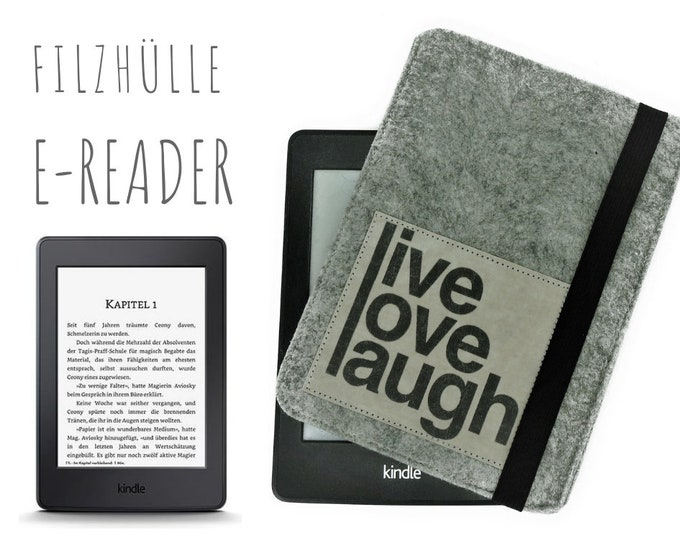 E-Reader Case | Kindle | Felt | gray | Slogan | Case E-Book | individualized are size, colors and slogan
