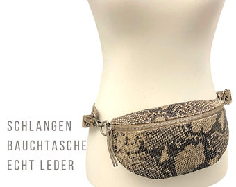Belly Bag or Cross Body Bag | Snakes Bag | Genuine Leather | Shoulder Bag Animal Print | Zipper | Hip Bag | Hip bag | Phyton