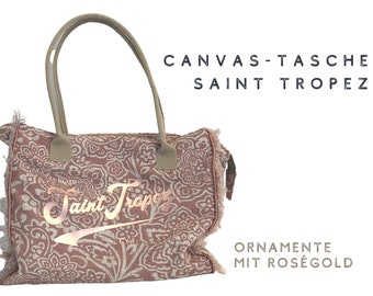 Trend: Canvas Bag Saint Tropez | Beach Bag | Floral Orrnamente in rosé with rose gold print | Fringe | Ibiza | Boho | French Style