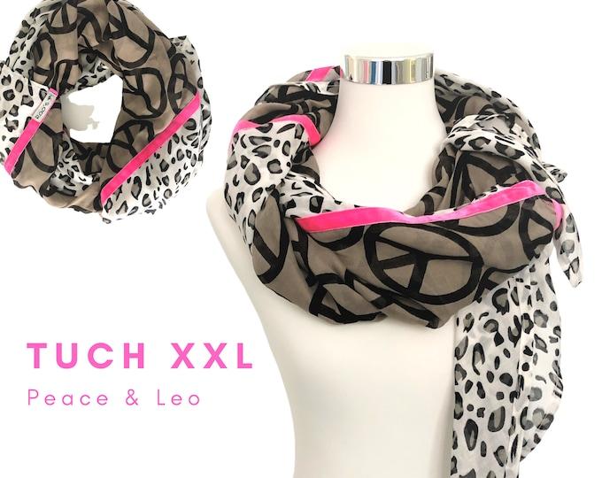 Trendy BOho-style XXL cloth | Leo pattern, black brown peace print & neon pink velvet ribbons | Einzelstück