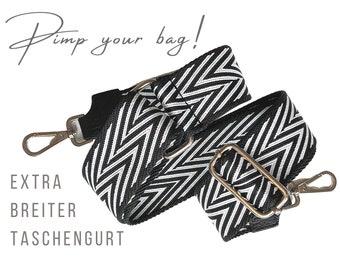 Wide shoulder strap | adjustable pocket belt | black and white | geometric pattern | woven ribbon | Carabiner silver