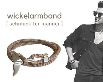 Beiges wrap bracelet for men   silver fish fin   maritime bracelet   Surfer   Father's Day gift   wrap energizing adjust