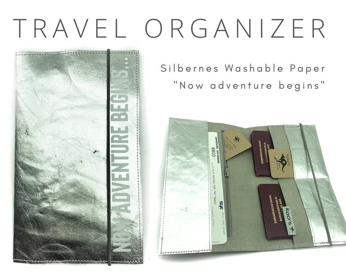 Silver Travel Case | Travel Organizer | Travel Documents | Document Folder | Travel Cover | Passbook Washable Paper | Gift Wedding Journey