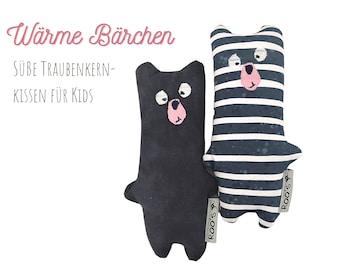 Small grape seed pillow   Bear   Grain Pillow for Babies & Kids   blue bear as a warming cuddly pillow