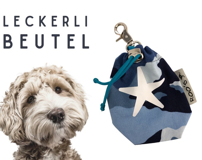 Blue Treat Pouch | Starfish Star Camouflage | Lining bag | Dogs | with carabiner | washable | lined | Pet food | Gift