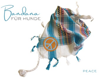 Colorful dog neckscarf | turquoise white orange | Peace | Bandana | Triangle cloth for binding | Gr.M/L