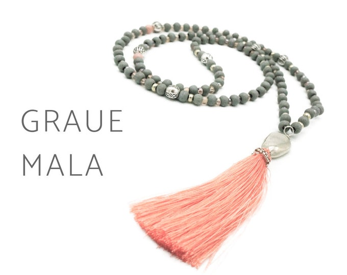 Grey Mala Necklace with Salmon Silk Tassel | faceted glass beads | Boho | Prayer Necklace |  Silver gemstone | Mala Chain | 108