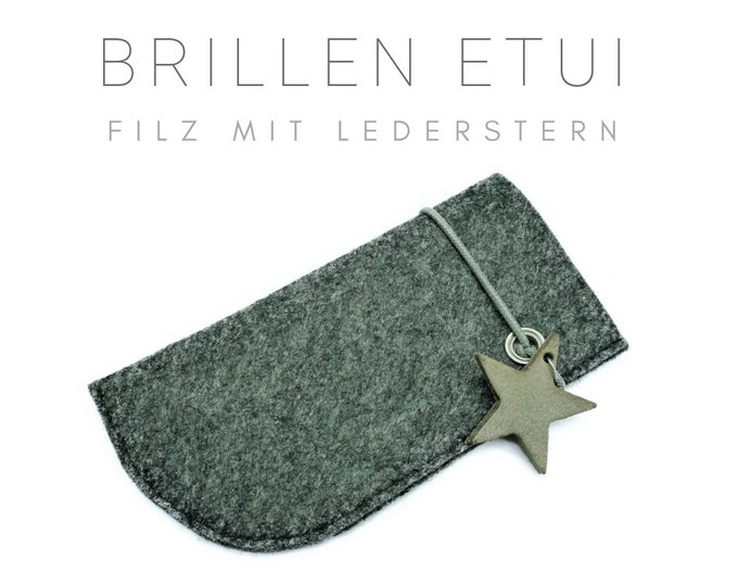 Felt case for glasses   Glasses   Grey sleeve with rubber train and leather star   Trailer