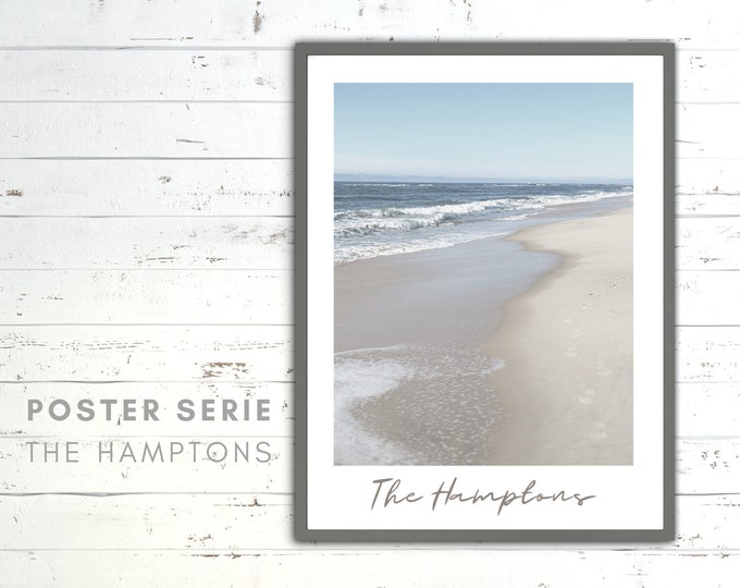 The Hamptons Poster | Waves | Beach | Sea | Beach Life | maritim | Pictures series | Wall Decoration | Coastal Style | coast
