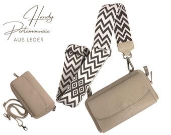 Mobile phone wallet     Wallet   wallet Genuine leather   Shoulder bag     phone case narrow or XXL strap   beige kitt ethno