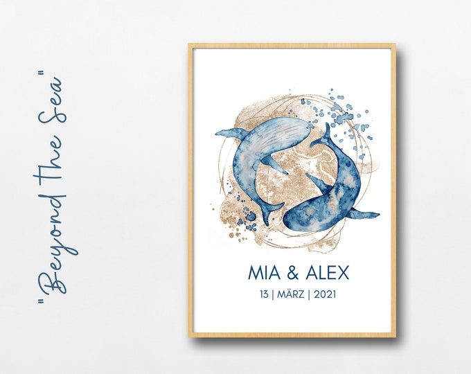 Wedding Poster   Wedding   Gift newlyweds   individual   Under Water   &-Sign   Watercolor   blue gold   maritim   Divers
