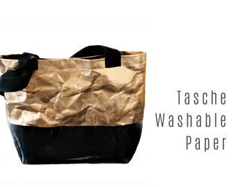 Rose Gold Bag from Washable Paper with Black Truck Tarpaulin | Shoulder bag | SnapPap Bag |