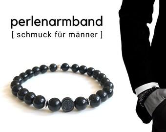 Maritime black beaded bracelet for men | Obsidian | Anchor steering wheel stainless steel | Men's jewellery | elastic ally | Gift Father's Day