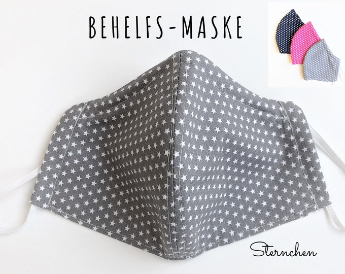 Makeshift Mask | Grey, Pink or Dark Blue | Nose Mouth Mask | Asterisk | double-layered | sewn cotton mask | Long Rubber Band | Wire