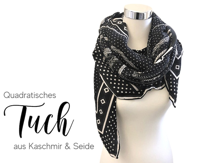 Featured listing image: Large Cloth | Cashmere & Silk | black and white | woven printed cloth | 135 x 135 cm| Square | Cashmere | Pashmina | XXL Cloth