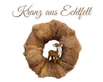 Noble wreath made of real fur | Christmas Wreath | Deer | Christmas Decoration | Rabbit | Fur | Glitter | Fur Wreath | Christmas | Xmas | Advent