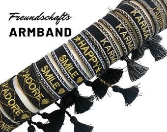 Friendship Bracelet | Webband | black gold knotted woven bracelet | Ibiza Tassels | Boho | Hippie Star Beaded Bracelet | Statement