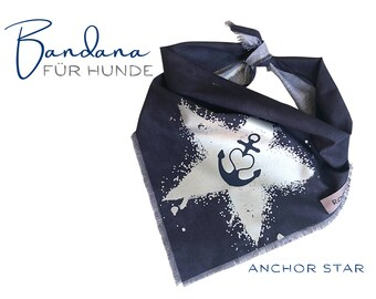 Maritime dog scarf with star and anchor | Bandana | Triangle cloth for binding | blue | | frayed Fransen | Size S/meter