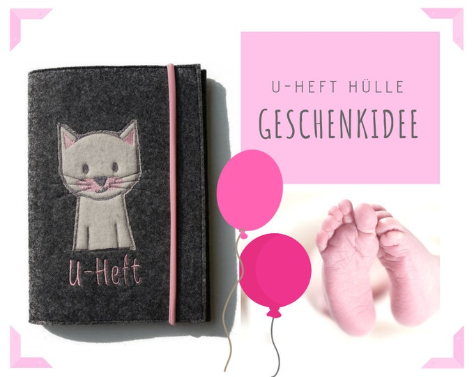 Felt U-stitch sleeve | Embroidery Cat | Felt Sleeve | Case for examination booklet | Application | U-Heft Sleeve | Case | Envelope