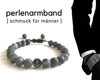 Maritime grey beaded bracelet for men | Stone beads | Anchor steering wheel stainless steel | Men's jewellery | Bracelet customizable | Gift Father's Day