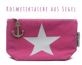 """Pink cosmetics bag from sail """"Star""""   Upcycling   Make-up bag   Sailing bag   Pink with white and light leather anchor"""