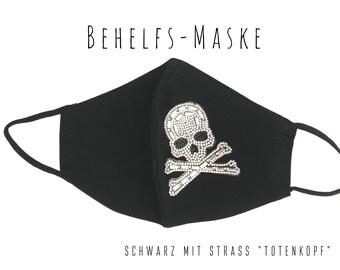 Black Mask | Nose Mouth Mask | Fabric Mask | Mouth covering | Facie | Face Mask | Jersey | Rhinestone Skull | Skull | Skull | Glitter