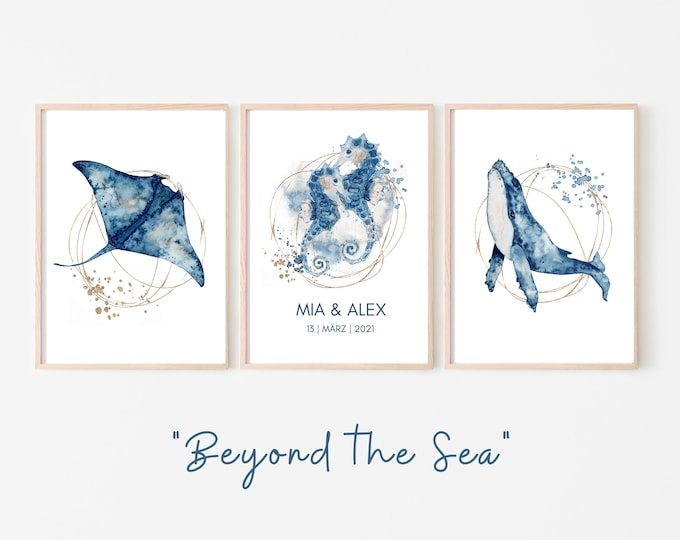 Wedding Poster | Wedding | Gift newlyweds | individual | Under Water | &-Sign | Watercolor | blue gold | maritim | Divers