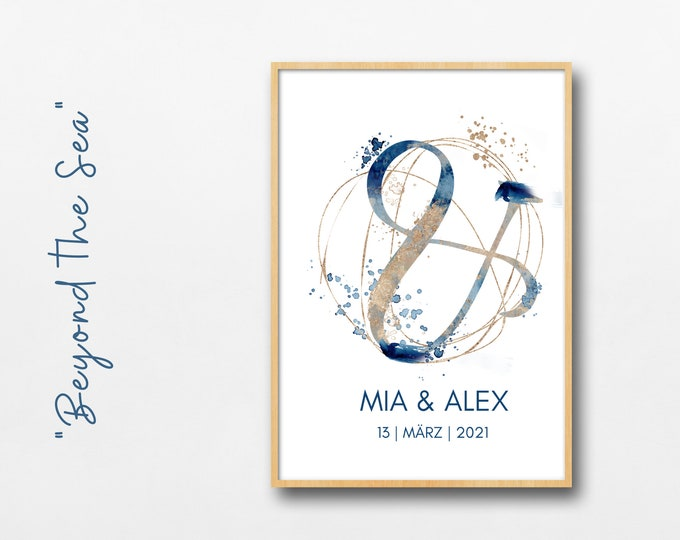 Wedding Poster | Valentine's Day Gift Newlyweds | individually | | underwater & --character | Watercolour | blue gold | maritim | Divers
