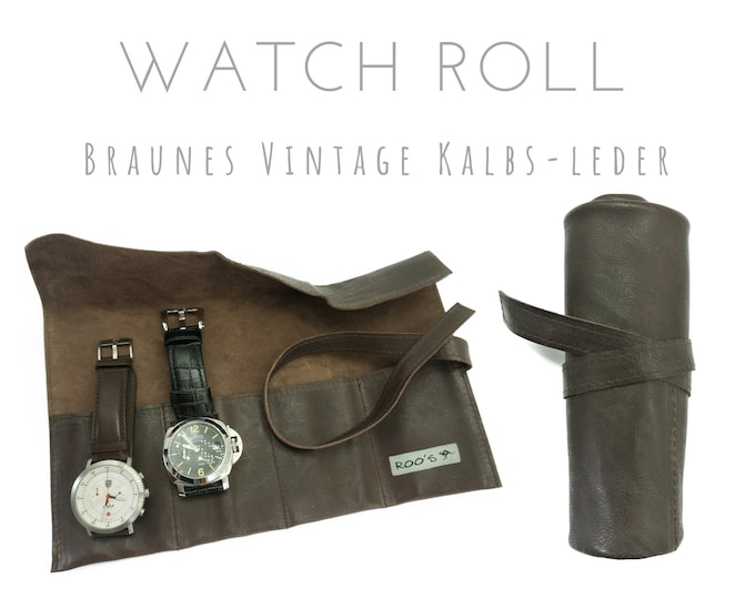 Brown 4-man Watch Roll in Vintage Calfskin | Gift for Men | Watches Roll 4 Watches | Travel Watches Case | Watch roll leather