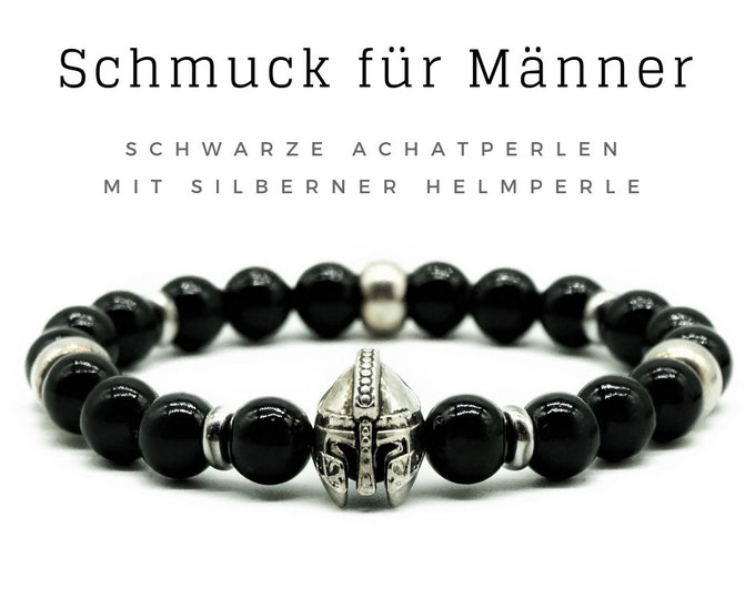 Father's Day! Bracelet for Men | Black agate beads | Silver helmet | Romans | Achat Men's Jewelry | Men's bracelet | Pearl bracelet | Agate