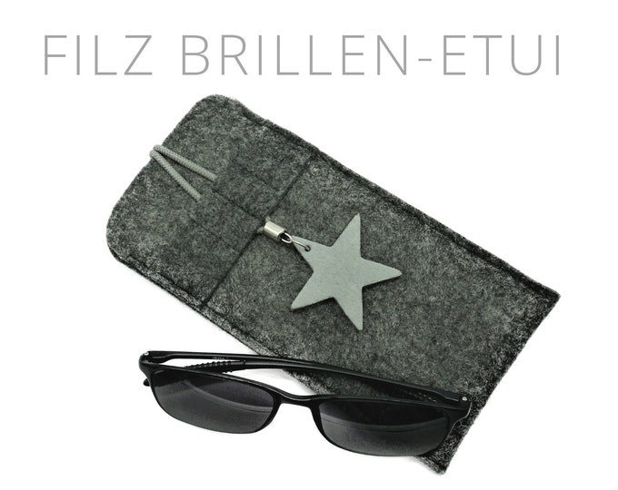 Felt case for glasses | Glasses | Grey sleeve with rubber train and leather star | Pendant Star | Lock