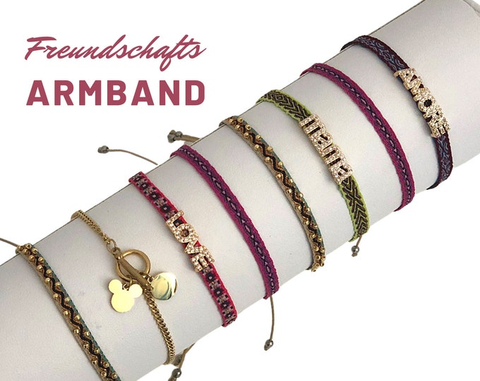 Petite Friendship Ribbons | Mother's Day Gift | Web bracelet | Rhinestone | Gold | Mama Love Amore | colorfully woven |for pulling | Mickey Mouse