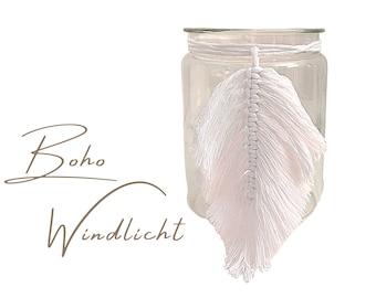 Small windlight in boho style | Macramee | white | Fringe | Lantern | Candle | Light | Lighting | Vase | Knotted | hygge | Illumination