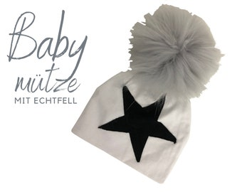 Baby hat | Bommelhat Echtfell | black or white | Raccoon Puschel | Fur | First-time hat | Infant | Gift Birth Baptism | Bommel