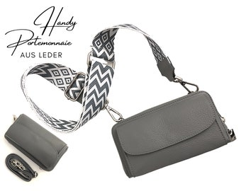 Mobile phone wallet   Purse   Wallet   Real leather   Shoulder bag   Mobile phone   narrow or XXL strap   grey ethno
