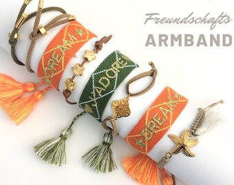 Friendship Bracelet | Webband | orange green gold knotted woven bracelet | Ibiza Tassels | Boho | Hippie Ribbon Leather Ribbon Stars