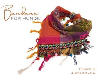 Bright colorful dog scarf   Bandana   Triangular cloth for tying   pink beige khaki   Bobble, fringes, beads, tassels   Size.M/L