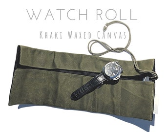 Khaki 5 Era Watch Roll | Waxed Canvas | Gift for Men | Wristwatches Roller 5 Watches | Travel Watches Case | Watch roll cotton lined