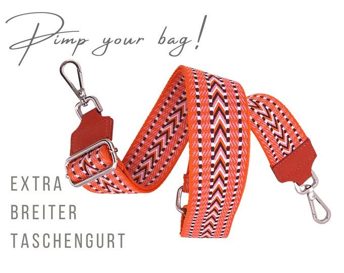 Extra wide strap for handbag | orange pink black | 5 cm wide | woven |  Crossbody Bag | XXL adjustable | pimp your bag| Ethnic patterns
