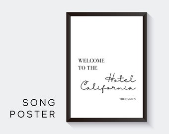 Lyrics Design Poster | Hotel California | Digital Print | Typo Image | Art print | Gift entry | Picture first apartment | Eagles | Music