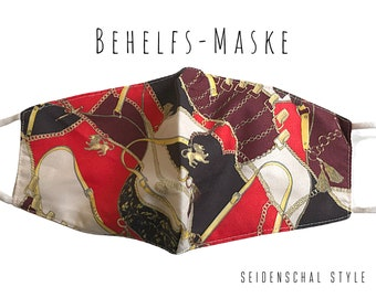 Red Golden Mask | in silk scarf style | Mouth Nose Mask | Fashion Mask | Vintage Heritage Style | Hermes inspired