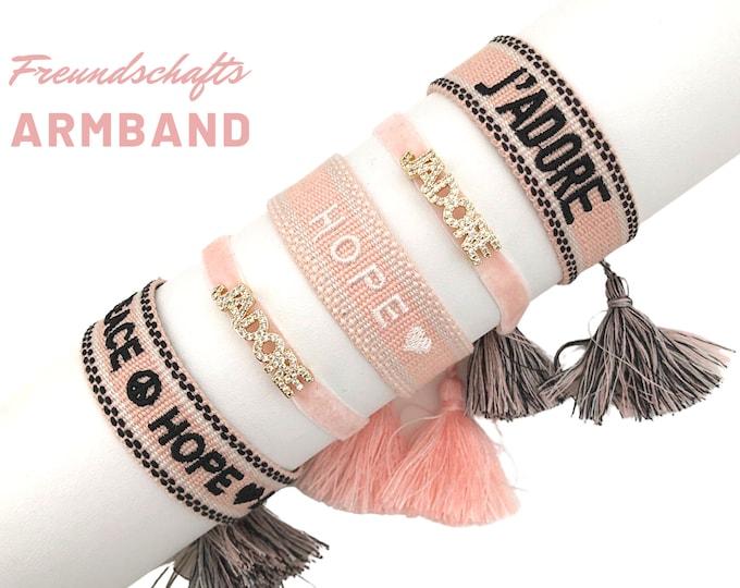J'ADORE   Friendship bracelet   Mother's Day Gift   Web bracelet   woven bracelet   Tassels   pink   Velvet ribbon rhinestones